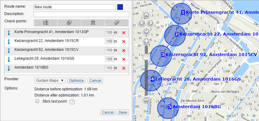 Routes module allows to optimize the order of points passing