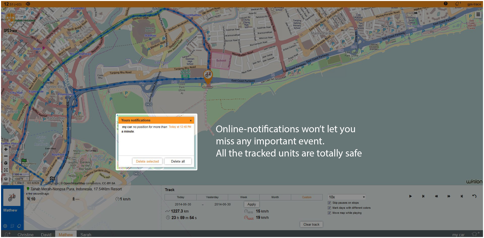 Online-notifications won't let you miss any important event. All the tracked units are totally safe.
