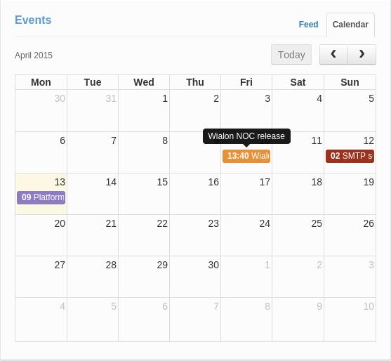Events/Event calendar