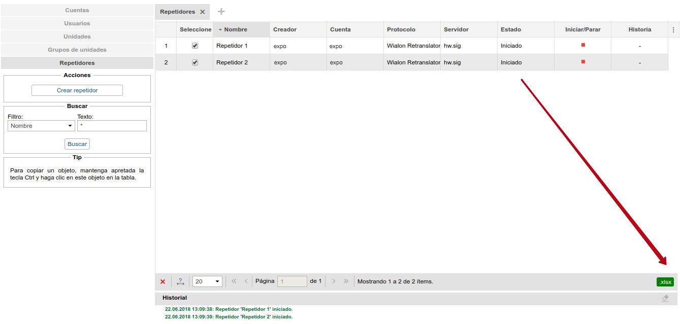 Exportación de repetidores: la lista de unidades y los ID nuevos en un archivo