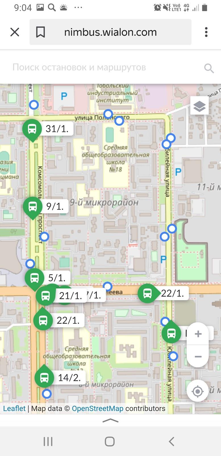 Автобусы на карте