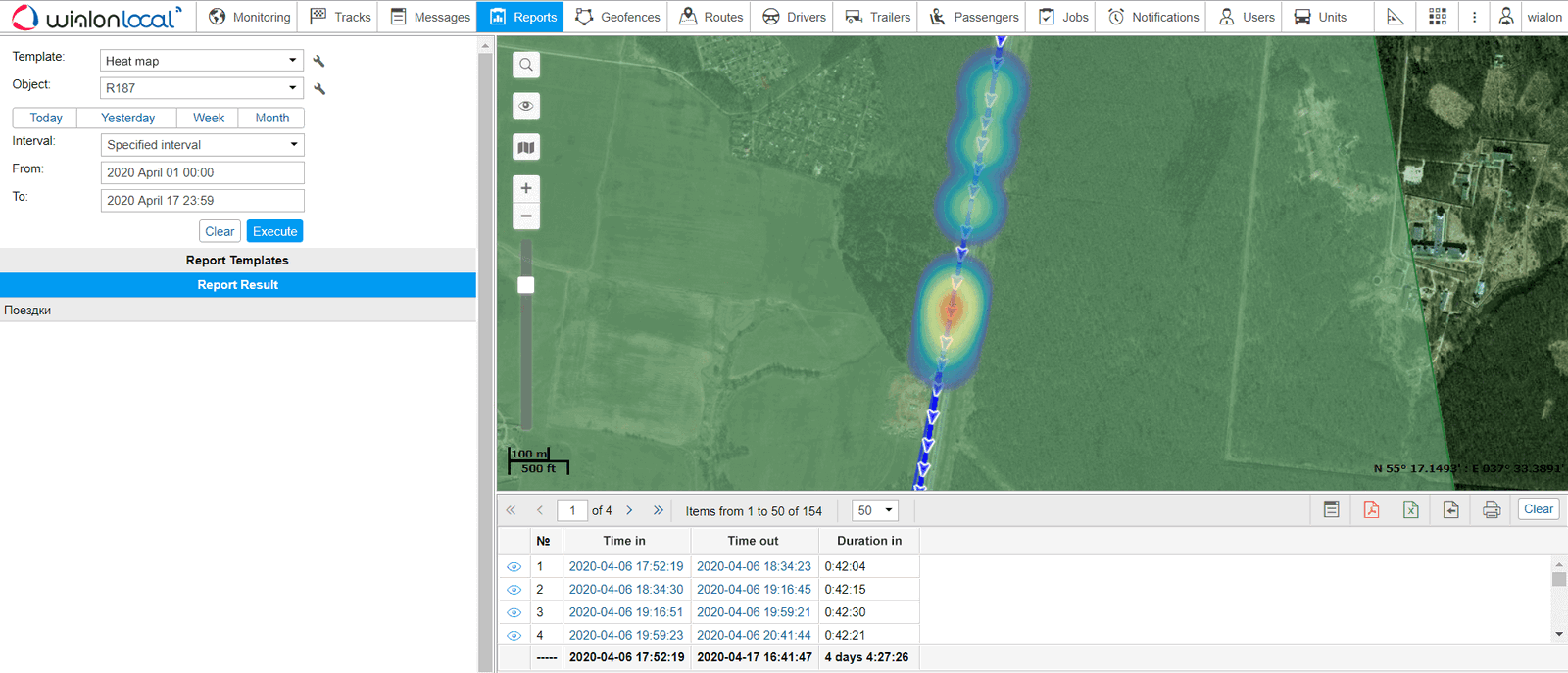The Heat map layer in the reports in Wialon Local