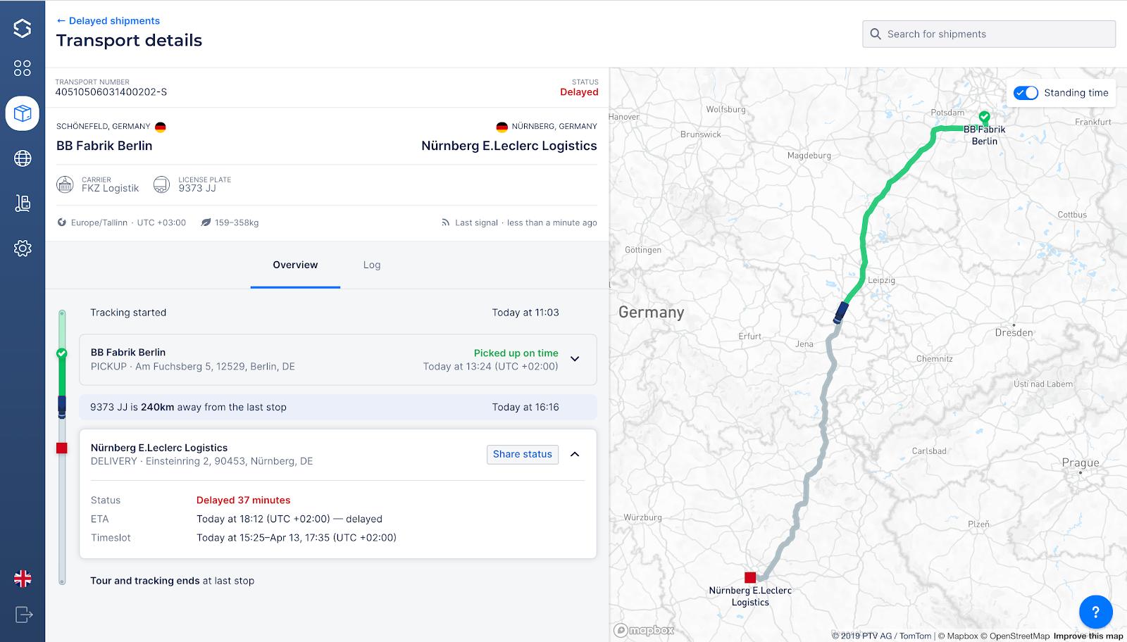 Информация о статусе доставки и предполагаемом времени прибытия в системе Sixfold