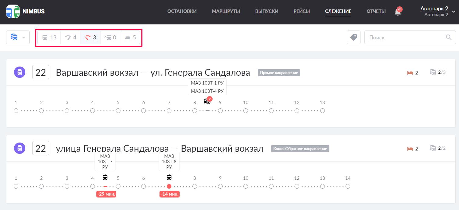 Фильтрация маршрутов на странице «Слежение»