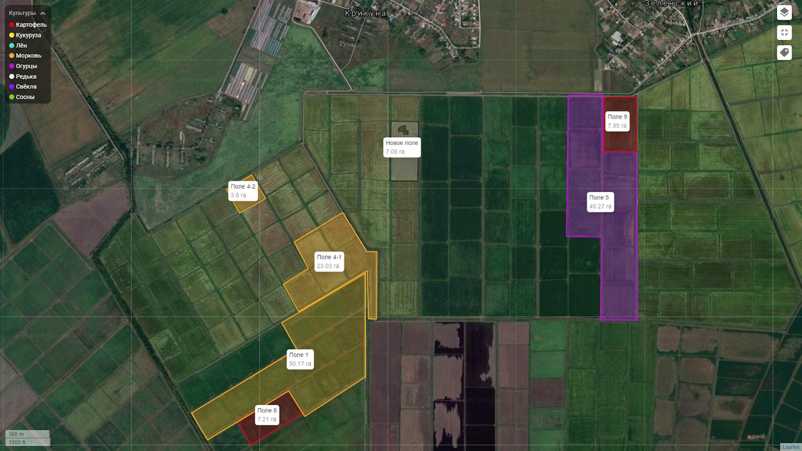 Отображение площади полей на карте
