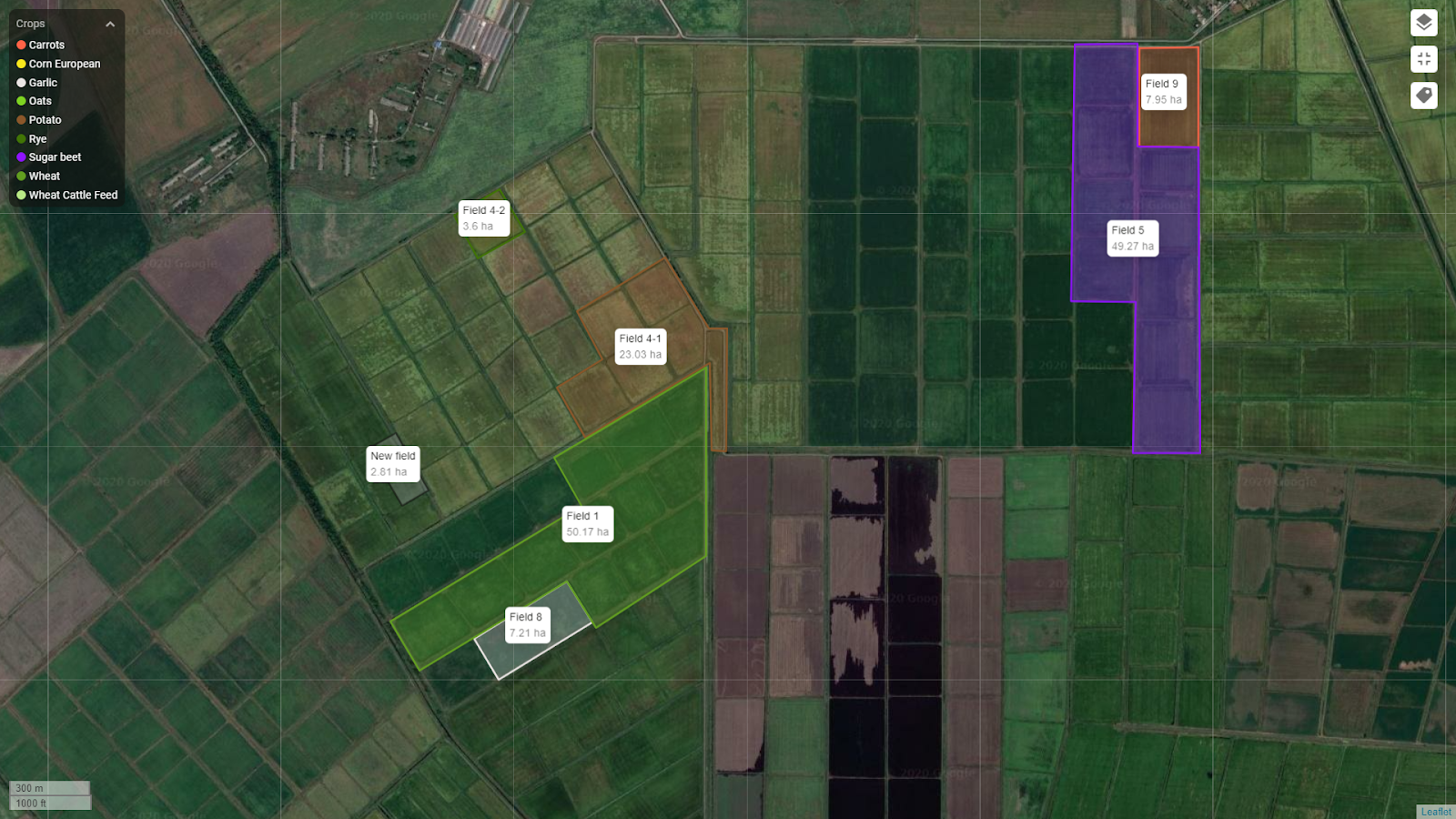 Display the area of fields on the map
