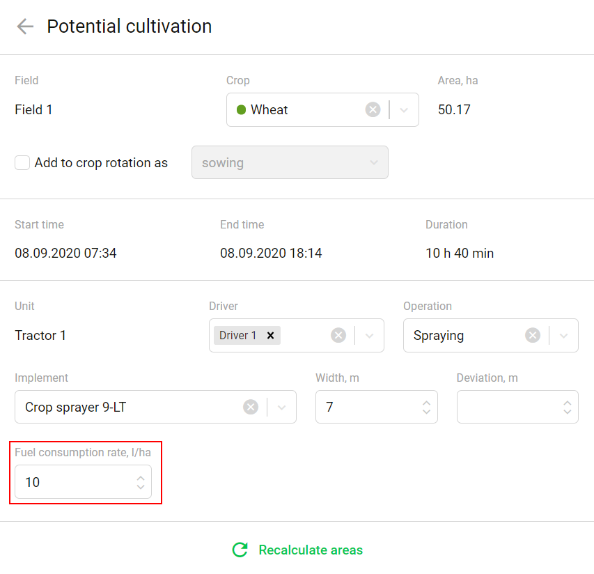 Fuel cinsumtion rate in a cultivation