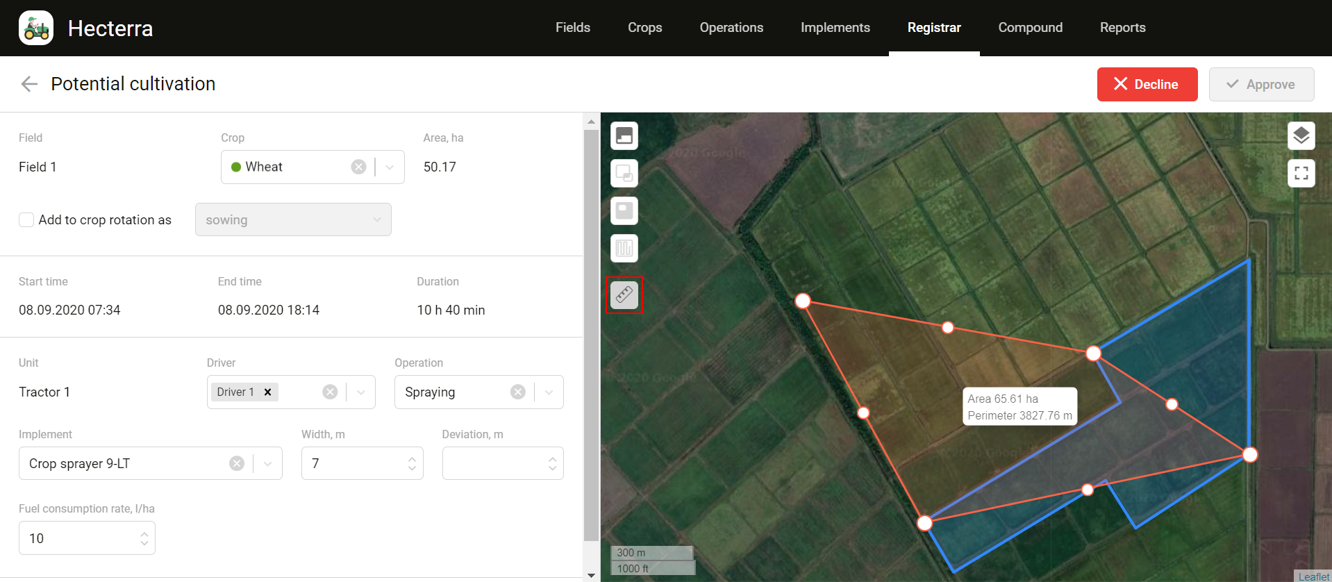 Measuring distance and area tool in Hecterra