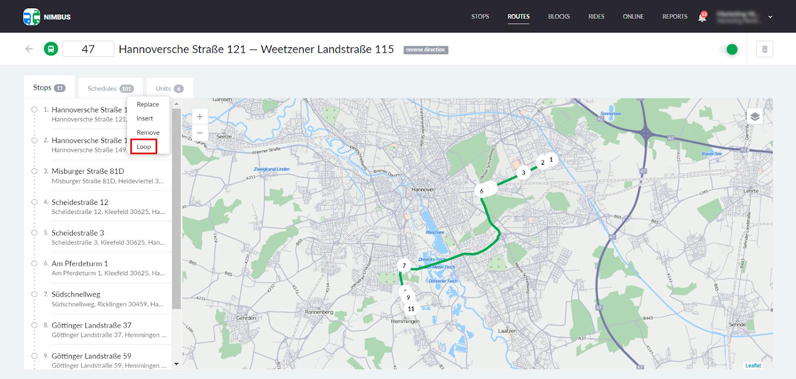 Circular routes in NimBus