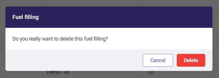 Fuel filling deletion