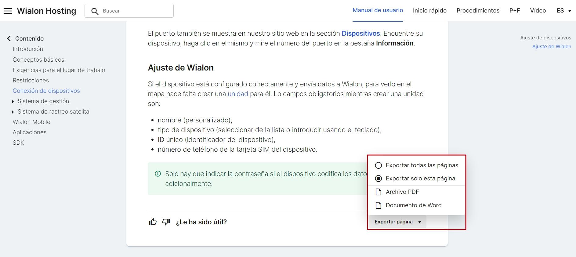 Wialon help center Export option
