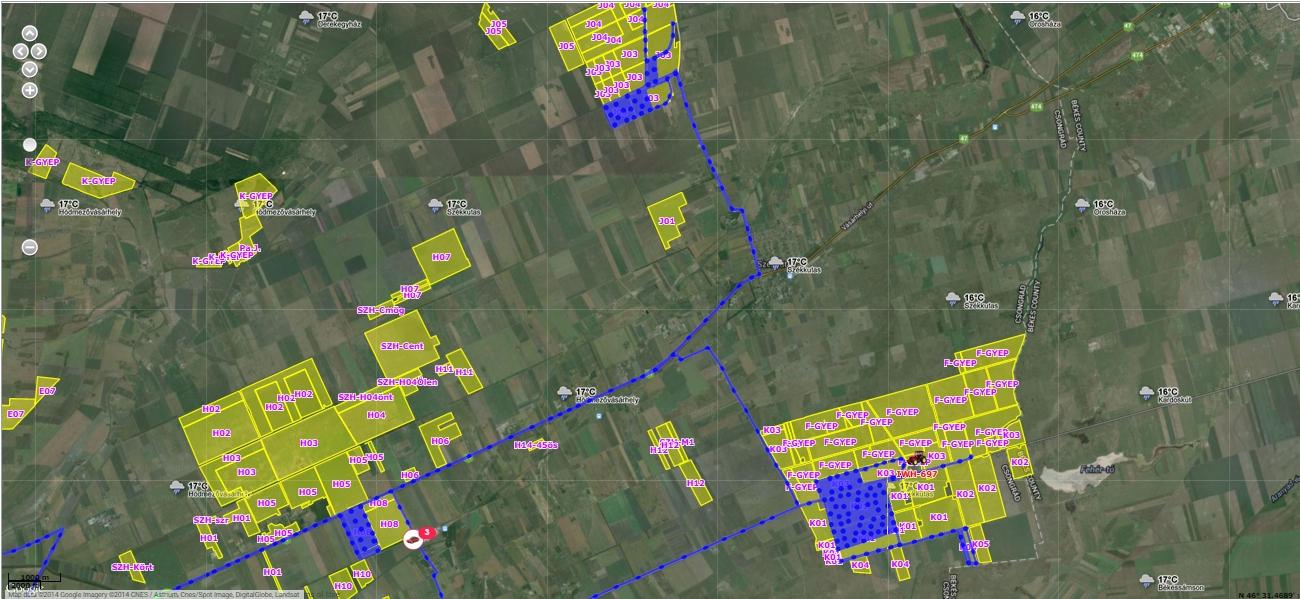 Поля и маршруты техники на аэрофотокарте в приложении Eflotta Agro