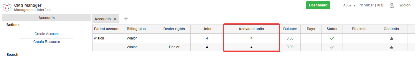 The new column for activated units on the Accounts tab