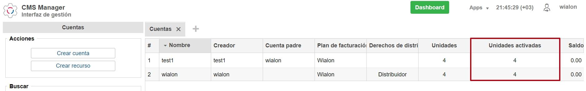 """Nueva columna para unidades activadas en la pestaña """"Cuentas"""""""